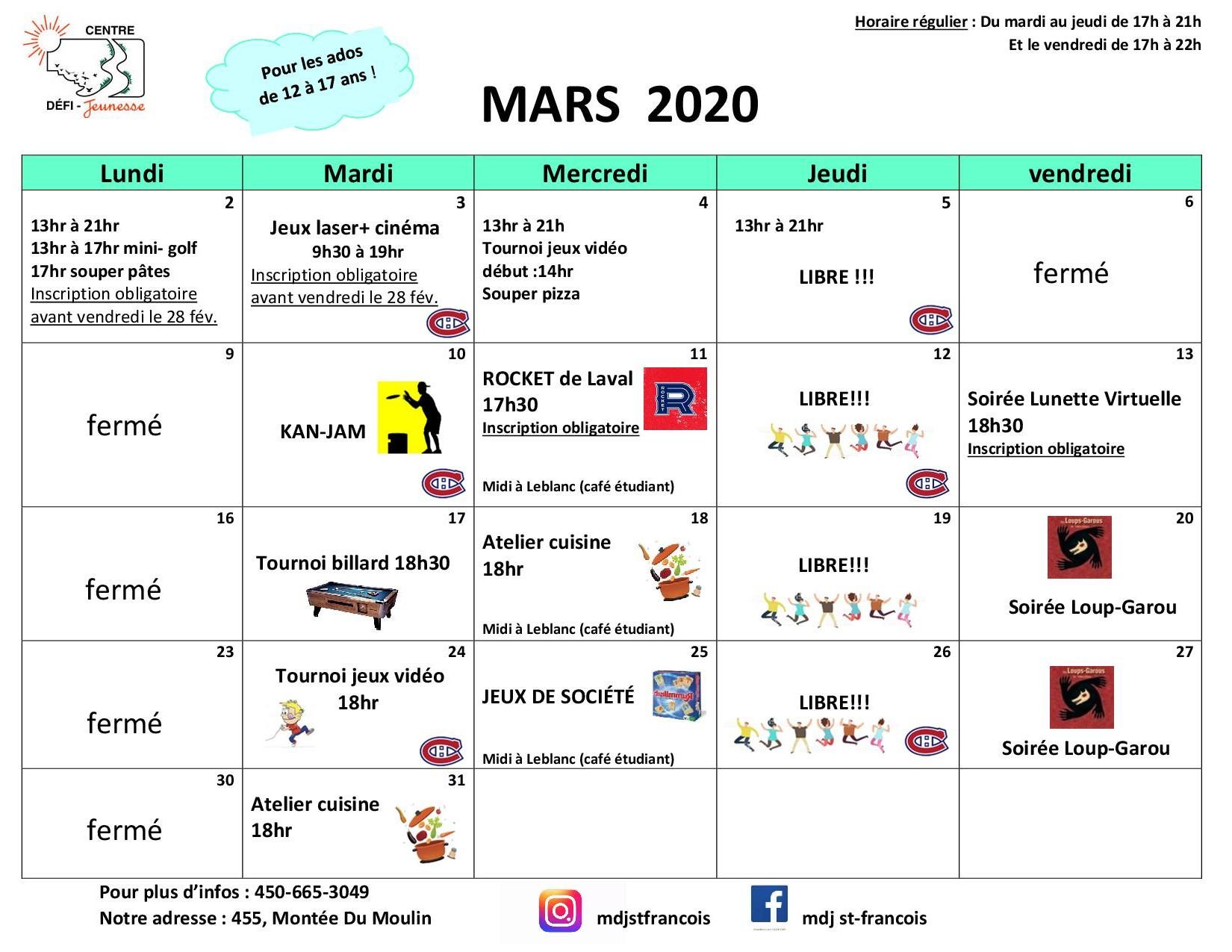 Calendrier CDJ mars 2020